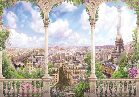 Terrace wall mural of Paris in the spring - 11417
