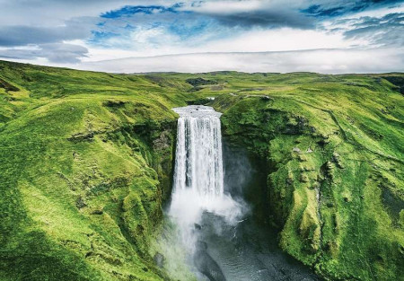 Waterfall in a green place wallpaper - 12985