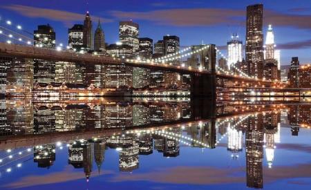 City lights water reflections at night - 1670