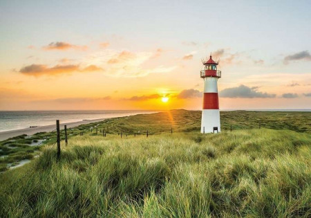 Lighthouse in a lonely place, green wallpaper - 11678