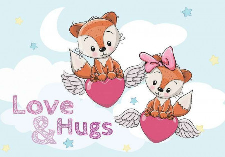Love & hugs text wall poster - 12537