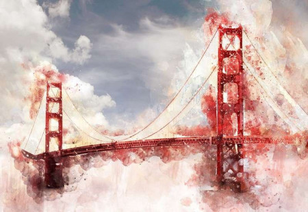 Painted bridge, art stroke, red accents - 12920
