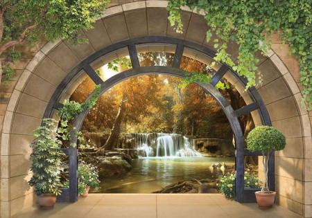 Zen garden background arched wall mural - 11553