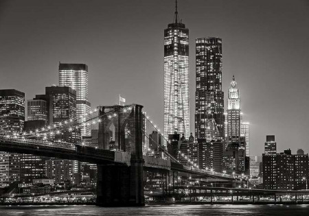 Black and white night city image - 13032