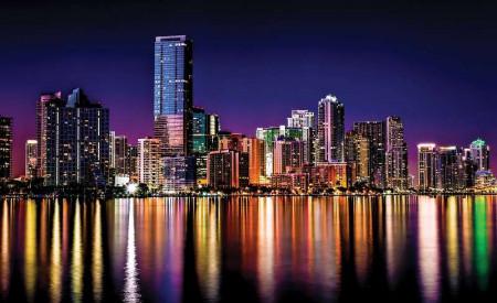 City lights reflections at night wall image - 855