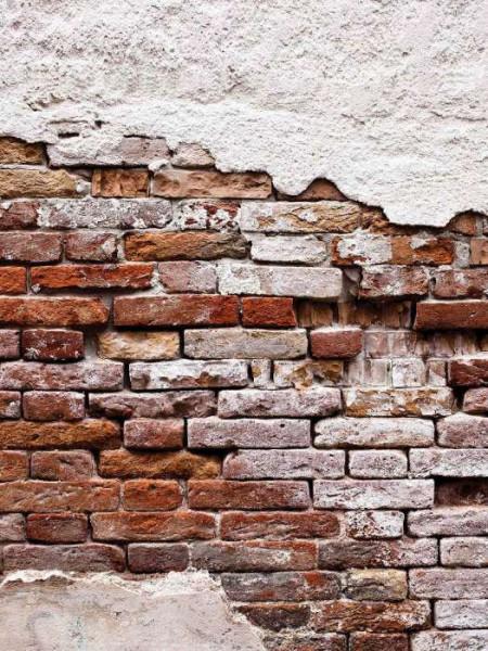 Cracked brick wall, fallen cladding decor - 10182A