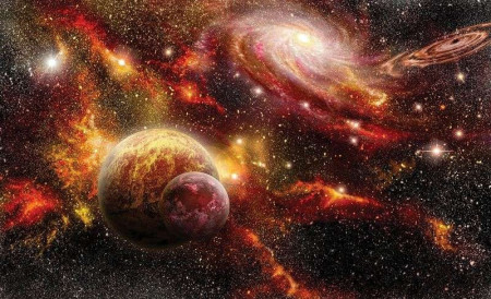 Galaxy collision and star dust, wall mural - 2734