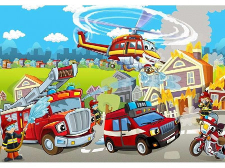 Firefighters wall mural for kids - 12549