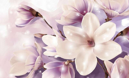 Violet accents floral photowall - 3506