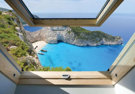 Window view to a tropical cape wallpaper - 10393