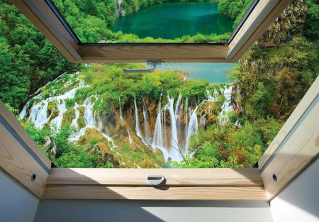 Window view to green waterfalls wall mural - 10392