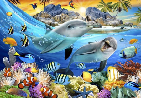 Underwater sea life wall mural for children - 12850
