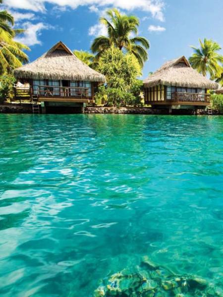 Pile dwelling tropical paradise village wallpaper - 224A