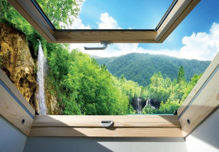 Window wallpaper to blue sky and green forest - 10391
