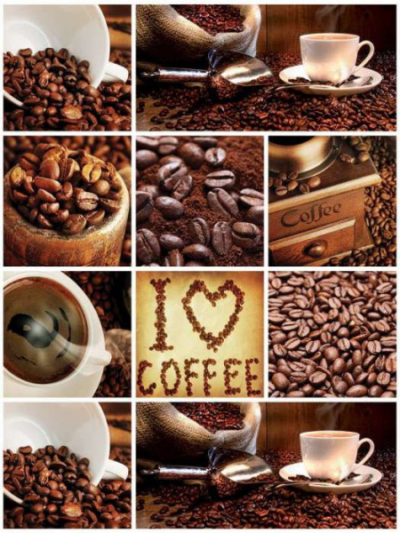 Coffee themed living room wall mural - 10448A
