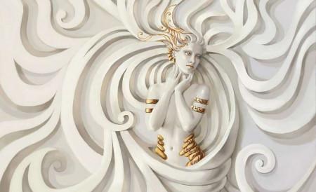Goddess statue wall mural - 3043