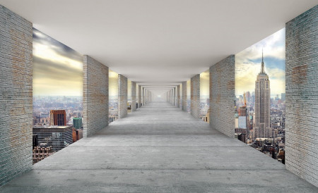 Hallway above the skyscrapers in New York wall mural - 13662