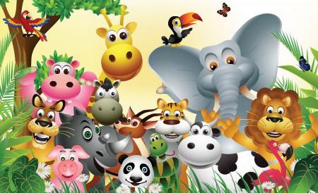 Happy animals, children's room wall poster - 693