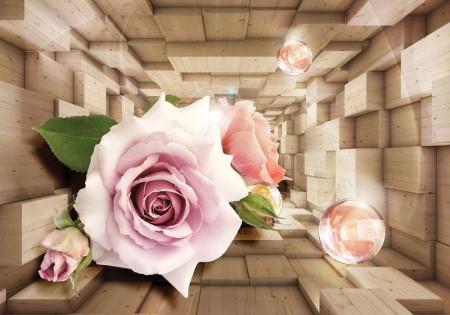 Pink rose 3D effect wall design - 3357