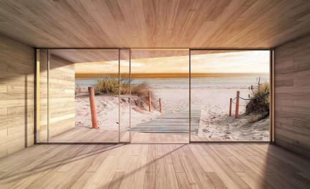 Terrace to a beautiful sand beach wall paper - 3290