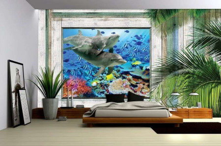 Underwater life window view poster - 1227