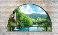 Arched river wall mural with 3d effect - 2837
