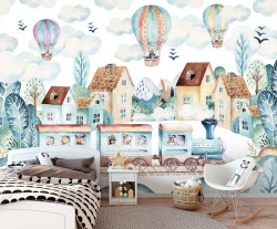 Balloons over the town, cute wallpaper - 13673