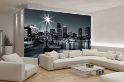 City at night black and white wall poster - 275