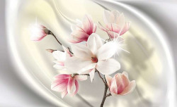 Creamy, shiny, pinky, floral wall mural -2845