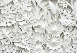 Gypsum palm leaves 3D effect wall decor -10052