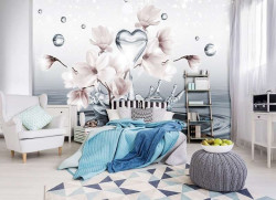 Heart shape water drop with flowers wall mural -10163