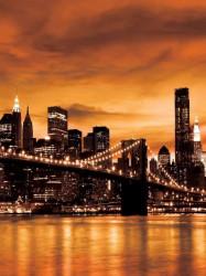 New York city bridge at night wall paper - 228A