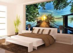 Pier with fisherman boats at calm sea colorful wall mural - 2223