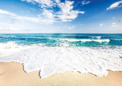 Sparkling waves on a beach living room wallpaper - 10218