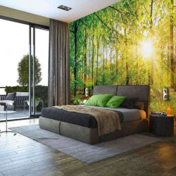 Sun beams through green forest living room wall paper - 13462