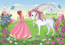 The princess and the Unicorn, children's story wall mural - 13238