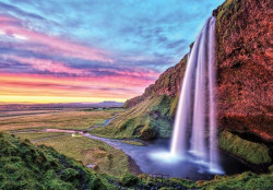 Waterfalls and cloudy red sky wallpaper - 12984