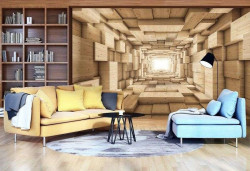 Wooden tunnel wallpaper, abstraction - 3247