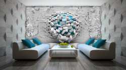 Breaking the wall - green-blue accents wall mural - 3006