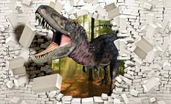 Dinosaur breaking through the wall, kids wallpaper - 11462