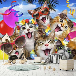 Smiling cats, Children's room wall mural - 12866