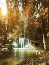 Waterfalls with lake wall photo decoration - 10470A