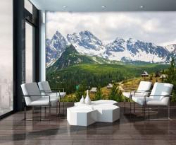 White mountain range and a cabin wallpaper - 10507
