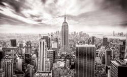 Black and white wall mural of New York city - 2318