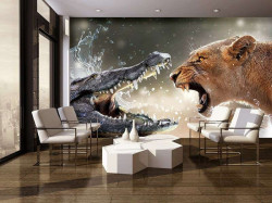 Crocodile vs. lionese, animals in action wallpaper - 3643