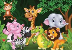 Kids wall mural, cheering animals - 11412