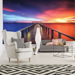 Lonely pier in calm waters wall mural - 3463