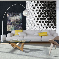 Minimalist wall mural in black and white - 10685A