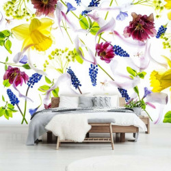 narcissus and other wildflowers livingroom wallpaper - 13019