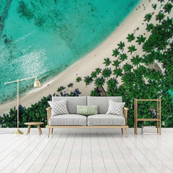 Palm beach with TURQUOISE waters wall paper - 13022